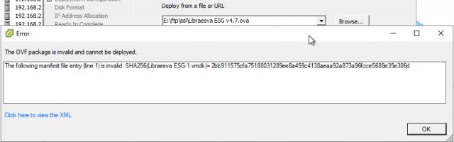 WMware failed manifest check error